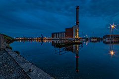 Shoreham Power Station Blue Hour I (Dave Sexton) Tags: southwick england unitedkingdom gb shoreham west sussex adur uk twighlight bluehour harbour power station still water lights reflections longexposure pentax k1 samyan 14mm f28 serene