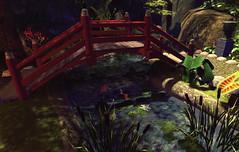Moonlight Teahouse Bridge (Gaea Oakleaf) Tags: japanese teahouse moonlight cherryblossom bamboo koi pond garden zen tranquil