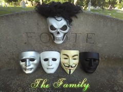 The Family (PhotoJester40) Tags: shadow outside outdoors mask guyfawkes together thefamily displaying sylva oakhillcemetery deepthinker maskfamily skullmaster incemetery