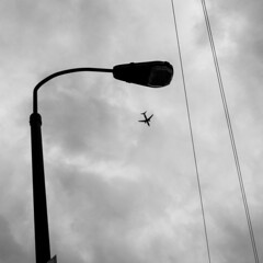 fly down (jaumescar) Tags: travel light bw white black monochrome up silhouette clouds contrast plane square grey space empty sony flight concept minimalist connection
