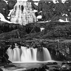 as the water negotiates the mountain ... (lunaryuna) Tags: longexposure bw mountain monochrome landscape blackwhite iceland le waterfalls lunaryuna westfjords northwesticeland dynjandiwaterfall strompgljufrarfosswaterfall