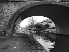 towpath tunnel (dougfot) Tags: bridge england bw lens canal miltonkeynes overcast f56 ilford fp4 45mm narrowboat towpath harman grandunioncanal 1125 125asa polariser m645 peartreebridge mamiyafilm douggoldsmith