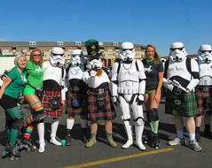 Storm Troopers Love to Wear Kilts ! (Colorado Sands) Tags: stormtroopers girlsonwheels fictionalcharacters soldiers costumes babes guys nerds girls imperialstormtroopers skates skaters kilts people ladies rollerdolls rollerskaters scifi sciencefiction males females men stpatricksparade denver parade irishparades festive event stpats americanparades stpaddys irish march 17 2012 goldenjubilee stpatricksdayparade coloradofanforce colorado us america unitedstates women usa sandraleidholdt stpatricksday starwars rockymountainstarwars