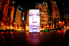 Crown Fountain ala Fisheye (Seth Oliver Photographic Art) Tags: nightphotography chicago landscapes iso200 illinois nikon midwest cityscapes milleniumpark fisheye nightshots theloop pinoy nightscapes urbanscapes secondcity windycity longexposures chicagoist d90 nightexposures 10secondexposure crownfountains tonemapped cityofbigshoulders manualmodeexposure setholiver1 aperturef160 circularpolarizers tripodmountedshot 1024mmtamronuwalens timedelaytriggeredshot