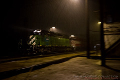 WSOR Rondout, IL Thunderstorm (Travis Dewitz) Tags: chicago rain train il thunderstorm downpour burlingtonnorthern sd402 wisconsinandsouthern rondouttower wsor4013 railroadsnight