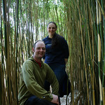 Newly-wed microlighters, David and Natalie in the bamboo, Achamore