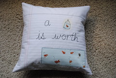Another Heather Ross pillow cover done (quarksandwidgets) Tags: quilt oop notebookpaper pillowcover swimmingfish heatherross lightningbugsandothermysteries goldfishinbags