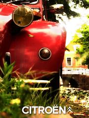 Citroen 2cv in Delft (janloek) Tags: bridge light red wheel closeup rouge canal duck parking citroen citron delft front 2cv parked eend citroen2cv bumber