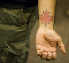 Maple Leaf tattoo (San Diego Shooter) Tags: portrait canada tattoo sandiego streetphotography mapleleaf canadianpride downtownsandiego sandiegonightlife sandiegopeople sandiegostreetphotography gaslampquartersandiego
