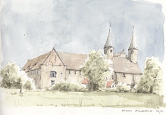 Kloster Mollenbeck (Flaf) Tags: colour church water pencil drawing kirche florian weser trme kloster freie weserbergland rinteln romanik abtei flaf mllenbeck afflerbach zeichnerei
