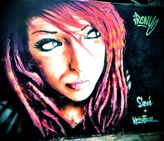 Street Art by Irony, Upfest 2012 (firstnameunknown) Tags: camera urban woman streetart art girl face sarah dreadlocks bristol graffiti eyes kristina clarity piercing bedminster irony 6x7 soemo upfest iphoneography