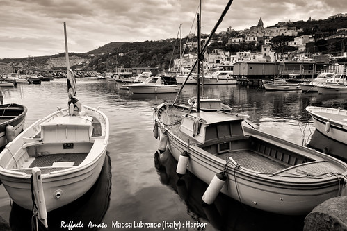 Massa Lubrense, italian fishing village, port (Black and white image)