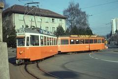 1976-02-26, TPG, Moillesulaz (Fototak) Tags: tram 321 700 strassenbahn 727 ligne12 cgte normalisée orangeust