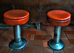 I'm sure these seats have many a story.... (Sally E J Hunter) Tags: toronto vintage diner gales explore stools luncheonette easternavenue carlaw explored galessnackbar