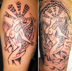 Evil Angel Tattoo by GuttaBanksINK (guttabanksink) Tags: woman sexy art ass girl tattoo angel clouds naked nude heaven titties arm halo tattoos tatoo blackandgrey blackgray guttabanksink guttabanks hellevil