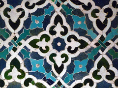 Mihrab, detail with pattern, 1354--55, Isfahan, Iran