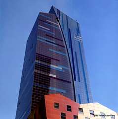 Tower (Rafakoy) Tags: city nyc newyorkcity blue windows red sky urban ny newyork color colour tower 6x6 tlr window colors yellow architecture mediumformat colours pov manhattan pointofview negative 80mm yashicad c41 ffilm fujipro400h yashinon80mmf35 epsonv600 epsonperfectionv600