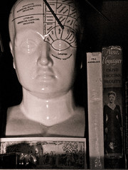 Phrenology and Bette Davis (prima seadiva) Tags: sepia ink vintage head fake books bust phrenology bettedavis spilledink