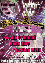 Bitzi Boom 2012 - Flyer - 31.07.2012 - PUEBLO CRIMINAL (Pueblo Criminal) Tags: music rock schweiz switzerland concert europa europe punk suisse suiza fireworks live gig ska boom sound onstage reggae schwyz bitzi siebnen rudetins pueblocriminal bitziboom faustianmyth