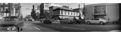 1974-08 Hastings St 2 (H H Johnston 2) Tags: camera bw panorama canada vancouver cityscape bc angle wide wideangle columbia panoramic valley soviet british 1960s lower fraser russian 31 sixties mainland ft2 kmz nineteensixties 1x3 hhjohnston haroldhjohnston