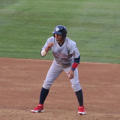 Andres Blanco Leads Off First (tjperr) Tags: baseball phillies minorleaguebaseball pawtucket philadelphiaphillies mccoystadium pawtucketri tripleabaseball infielder internationalleague andresblanco ironpigs lehighvalleyironpigs