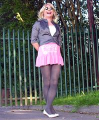 fenced in (gillian .) Tags: pink outdoors tv lace feminine cd tights skirt blouse transgender mature tranny blonde transvestite heels miniskirt crossdresser ts tg pantihose