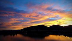 Chalkis Sunset II (Argyro...) Tags: bridge blue sunset sea wallpaper sky orange mountains nature greece waterscape evia chalcis