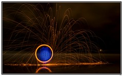 Fire & Light (Yvonne V) Tags: nightphotography nikon paintingwithlight orbs d300 18200mm durbanbeachfront steelwoolspinning