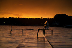 Time To Watch The Sun Set (Dan Constien) Tags: longexposure sunset sun set wisconsin bench relax golden dock midwest time madison hour madisonwisconsin lakemendota danconstien