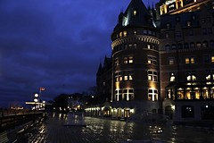 Chteau Frontenac (Sky Solar) Tags: city urban green castle history tourism architecture night buildings river cityscape waterfront quebec ngc arts landmarks leisure hotels nightfall
