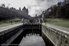 First Fog of 2016 - lookin' up the empty locks [one hand held]. (gregoryscottclarke photography) Tags: river spring downtown ottawa rideaucanal victoriaisland thelocks