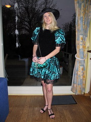 Classy young lady (Paula Satijn) Tags: black green girl beauty smile hat hair happy shiny pretty dress lace gorgeous joy silk skirt blond elegant satin