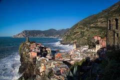 Vernazza - Overview (cheryl strahl) Tags: italy tower castle colorful europe village medieval cinqueterre hillside vernazza quaint italianriveria castellodoria