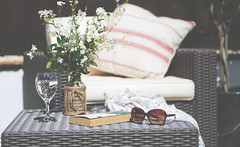 Its a lovely day tomorrow (windermereimages1) Tags: flowers summer love sunshine garden relax reading book bottle women solitude drink shades vase novel rest