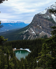 Mountain overlooking Mirror Lake (myphotothrowaway) Tags: mountain lake mountains hiking lakes glacier louise alberta rivers backcountry banff canmore