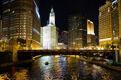Chicago Nights (cookedphotos) Tags: travel bridge light summer chicago reflection building tower tourism architecture night river boat downtown fuji streetphotography wrigley chicagoriver trump 23mm wabashave xt1