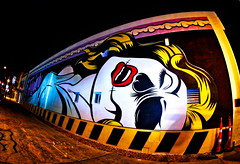 street art las vegas (johnsinclair8888) Tags: street city light summer streetart lightpainting art strange night america skull nikon lasvegas sigma wideangle wallart flashlight 15mm hdr skullface hss sliderssunday affinityphoto aurorahdr