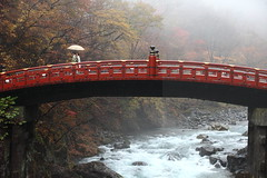 Crossing bridges (Elios.k) Tags: horizontal outdoors people two man woman wedding marriage ceremony couple groom bride traditional japanese crossing bridge umbrella one rain raining weather shinkyo sacred futurasan shrine river water daiyagawa rocks trees autumn foliage colours leaves mist misty visibility landscape red vermillion wooden structure colour color travel travelling november 2015 vacation canon 5dmkii camera photography nikkō nikko city kantōregion kanto tochigiprefecture honsu asia japan happyplanet asiafavorites