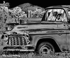 Aug 4 2013 - 1956 Chevy pickup in Spearfish SD (lazy_photog) Tags: white black photography lazy wyoming elliott photog worland