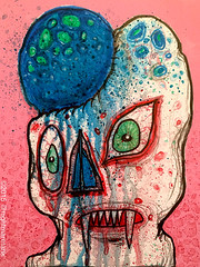Crypt Fungus (pickledpunk) Tags: pink blue art mushroom monster painting weird outsiderart vampire zombie mixedmedia fungus horror undead artbrut slime crypt lowbrow ghoul charnel horrorart