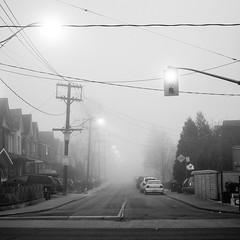 Hallam and Ossington (Mandeep Flora | mandeepflora.com) Tags: street city morning urban bw cloud white mist toronto black weather fog town nikon warm cloudy dream foggy surreal dew condensation neighbourhood d7000