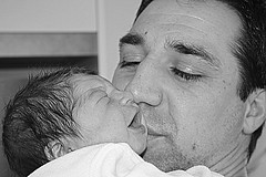 The father's love (alexl21) Tags: baby white black love kiss noir father amour cry bec blanc baisé bébé père pleur