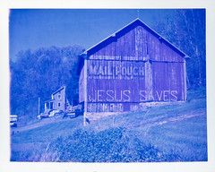 (patrickjoust) Tags: camera old blue usa color film sign barn analog rural america project polaroid us focus mail pennsylvania united country jesus north central patrick rangefinder pa 350 pouch automatic land chewing instant 100 states manual expired joust saves impossible tabacco the autaut patrickjoust