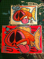 Gold fish (tapaz_art) Tags: street streetart color colour graffiti sticker stickerart stickers tapaz usps228