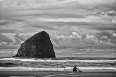 Cape Kiwanda, Oregon Coast (drburtoni) Tags: blackandwhite bw beach oregon pacificcity capekiwanda kiwanda
