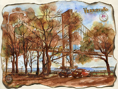 Verrazano bridge. (Nik Ira) Tags: bridge brooklyn ink watercolor sketch drawing ira waterbrush bijoubox
