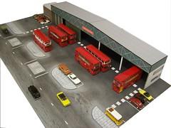 Bexleyheath Bus Garage (kingsway john) Tags: bus scale t model garage models card depot kit oo gauge diorama kingsway dms bexleyheath 176 londontransportmodel
