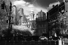 STreet LEvel View (Meleager) Tags: canon f1 film infrared ilford bw sfx200 red filter new york city