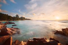 Seychelles Dream (mibreit) Tags: light sunset sea sky sun beach water island coast licht rocks meer wasser himmel sonne ladigue