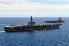 USS Dwight D. Eisenhower and French aircraft carrier Charles de Gaulle are underway in the Mediterranean Sea. (Official U.S. Navy Imagery) Tags: mediterraneansea